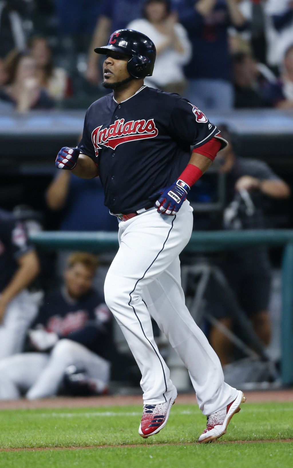 Cleveland Indians' Edwin Encarnacion rounds the bases after hitting a solo home run off Detroit Tigers starting pitcher Matthew Boyd during the sixth