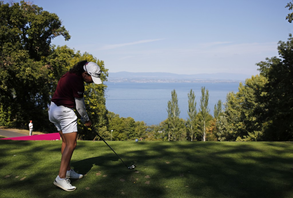 Mo Martin of the U.S. tees off to the 2nd hole during the third round of the Evian Championship women's golf tournament in Evian, eastern France, Satu