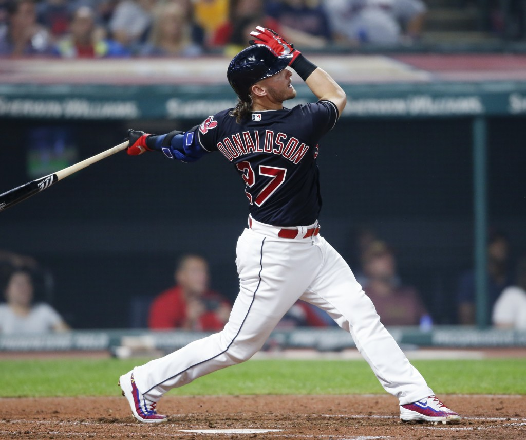 Cleveland Indians' Josh Donaldson hits a solo home run off Detroit Tigers starting pitcher Matthew Boyd during the sixth inning of a baseball game, Fr