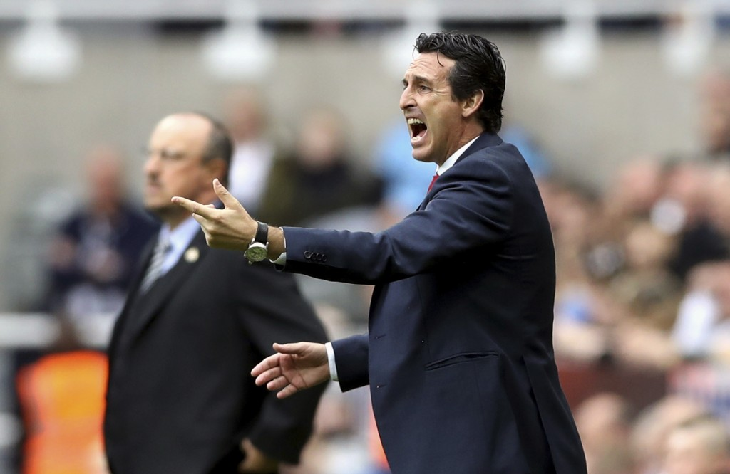 Arsenal manager Unai Emery gestures on the touchline during the English Premier League soccer match between Newcastle United and Arsenal at St James'