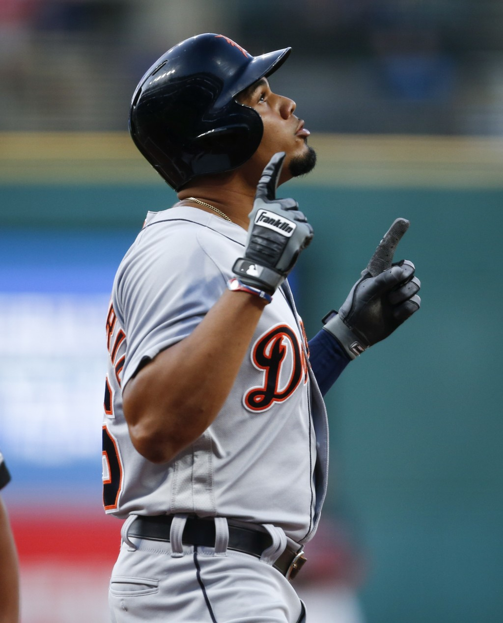 Detroit Tigers' Jeimer Candelario celebrates after hitting a solo home run off Cleveland Indians starting pitcher Josh Tomlin during the first inning