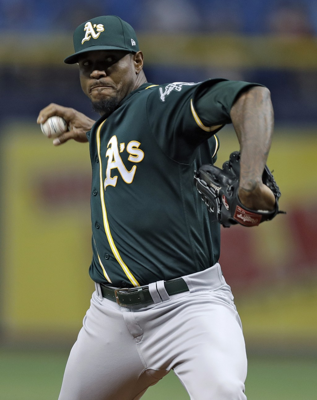 Oakland Athletics' Edwin Jackson goes into his wind up against the Tampa Bay Rays during the first inning of a baseball game Friday, Sept. 14, 2018, i
