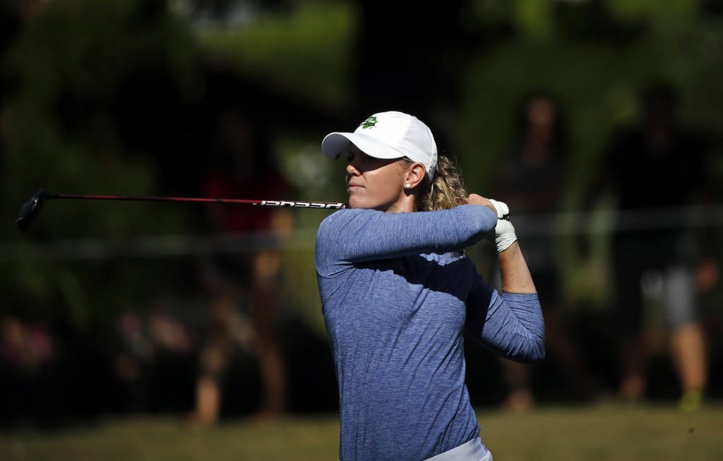 Amy Olson of the U.S. plays a shot during the third round of the Evian Championship women's golf tournament in Evian, eastern France, Saturday, Sept.