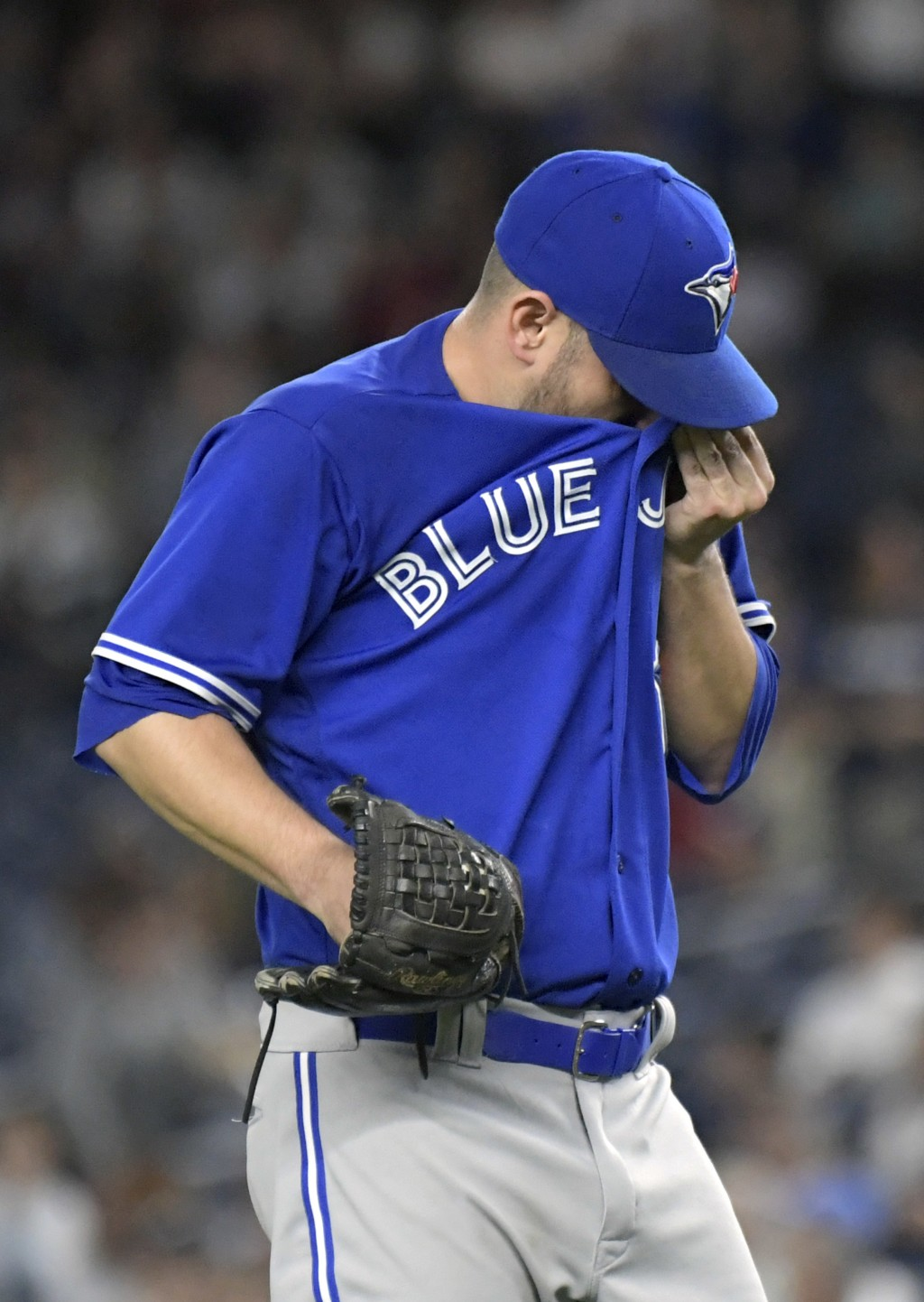 Toronto Blue Jays pitcher Marco Estrada reacts after the New York Yankees scored during the first inning of a baseball game Friday, Sept.14, 2018, at