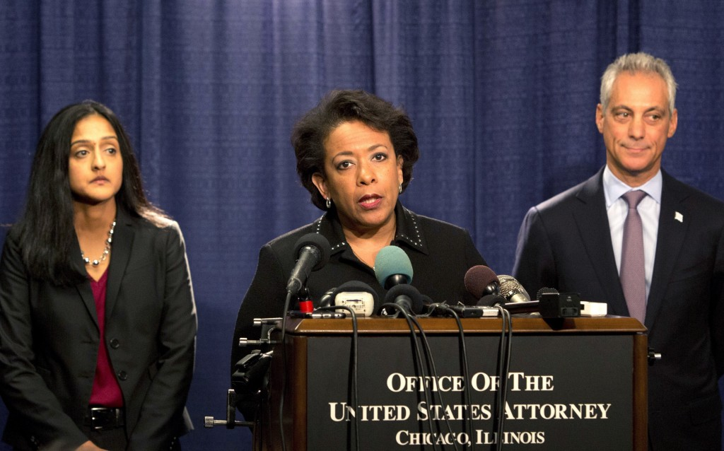 FILE - In this Friday, Jan. 13, 2017 file photo, U.S. Attorney General Loretta Lynch speaks during a news conference accompanied by Principal Deputy A