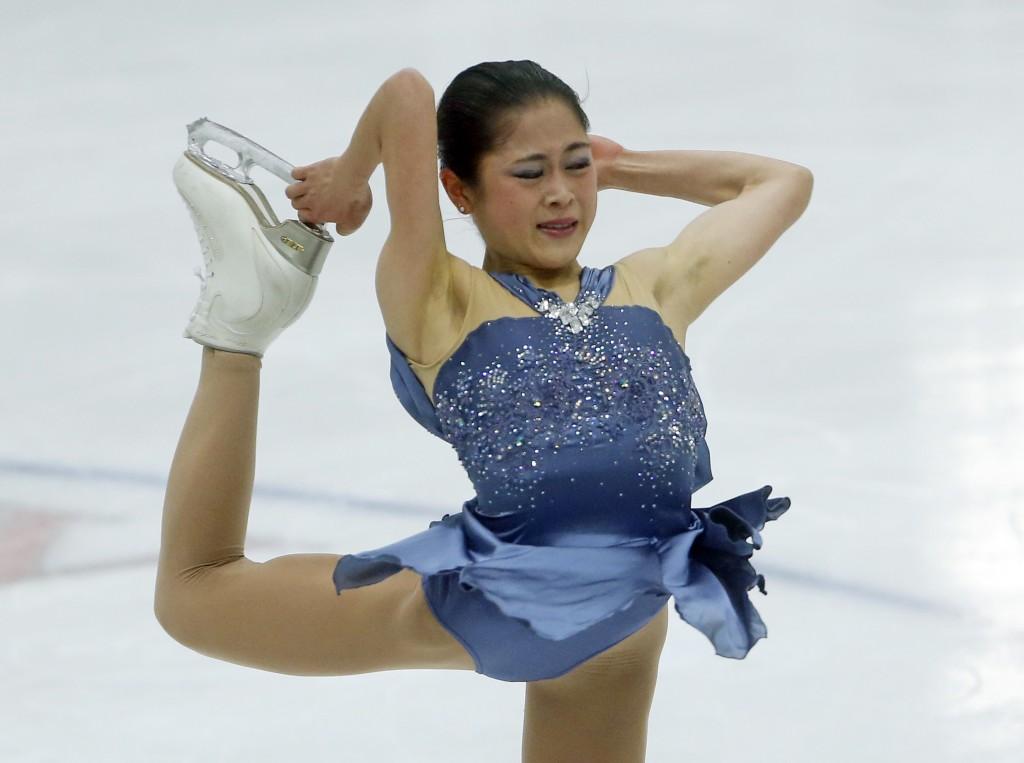 Satoko Miyahara, of Japan, performs during women's figure skating short program at the U.S. International Figure Skating Classic, Friday, Sept. 14, 20