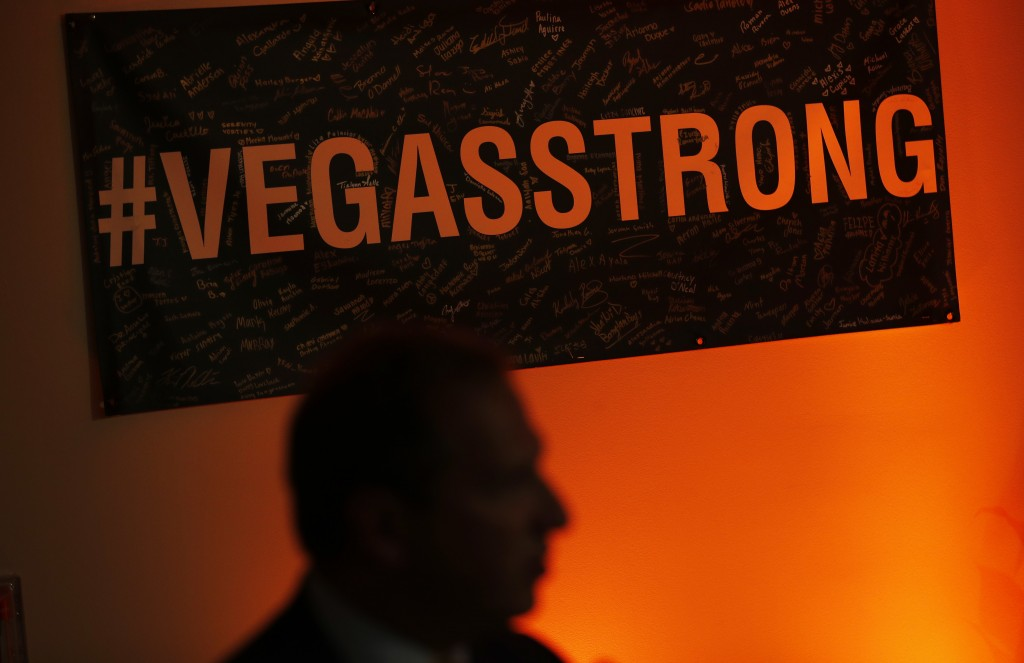 A Vegas Strong sign hangs on the wall during a reunion event for victims of the Oct. 1 shooting and their health care providers at Sunrise Hospital, F