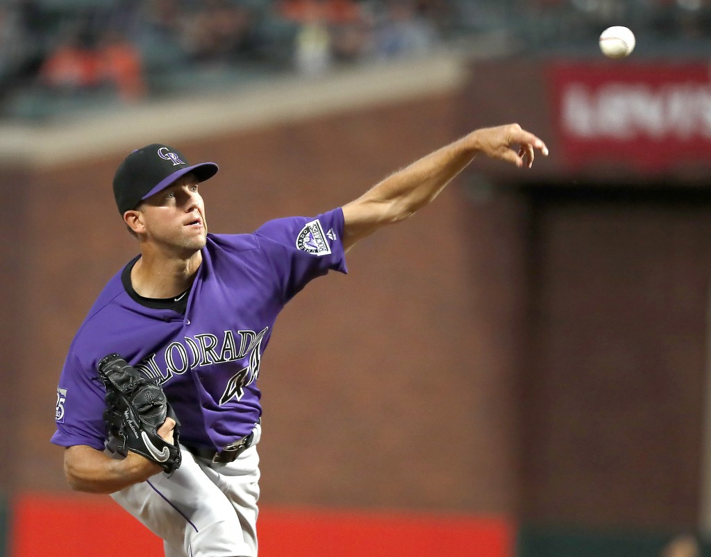 Colorado Rockies starting pitcher Tyler Anderson (44) throws against the San Francisco Giants during the first inning of a baseball game in San Franci