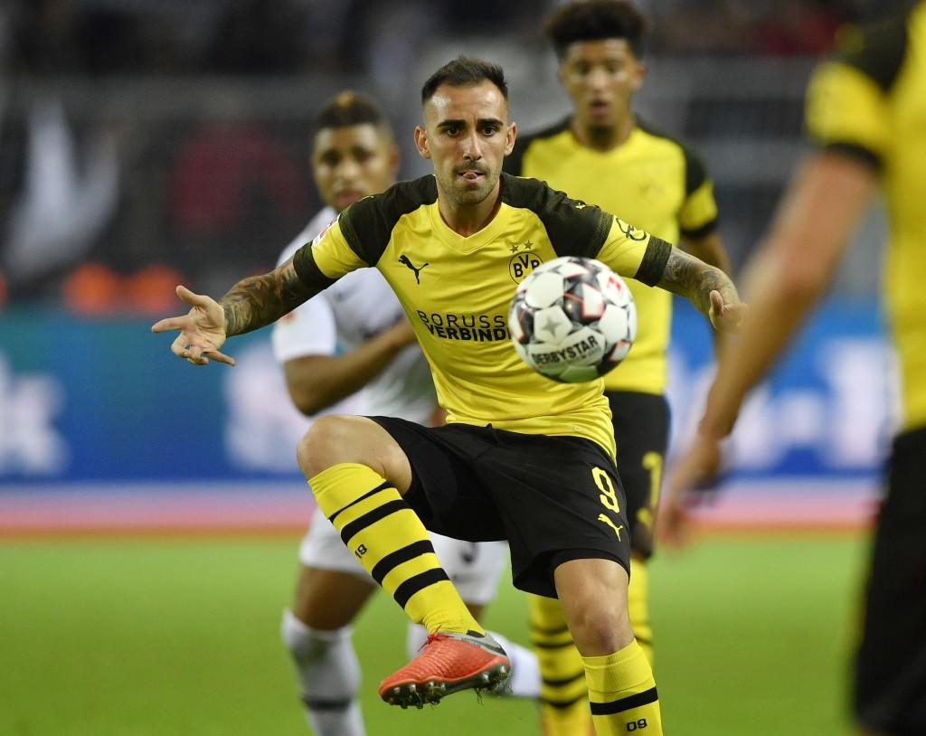 Dortmund's Paco Alcacer plays the ball during the German Bundesliga soccer match between Borussia Dortmund and Eintracht Frankfurt in Dortmund, German...