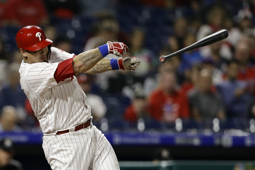 Philadelphia Phillies' Wilson Ramos loses his bat on strike from Miami Marlins starting pitcher Wei-Yin Chen during the third inning of a baseball gam...
