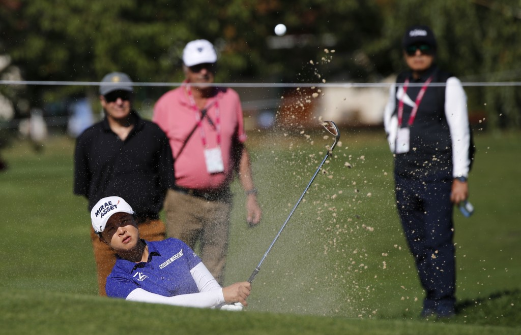 Sei Young Kim of Korea plays a shot from a bunker during the third round of the Evian Championship women's golf tournament in Evian, eastern France, S