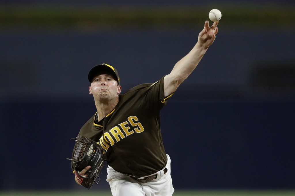 San Diego Padres starting pitcher Robbie Erlin works against a Texas Rangers batter during the first inning of a baseball game Friday, Sept. 14, 2018,