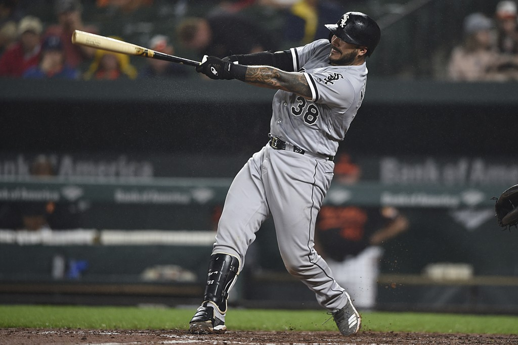Chicago White Sox Omar Narvaez connects for a two-run home run against the Baltimore Orioles in the third inning of a baseball game, Friday, Sept. 14,