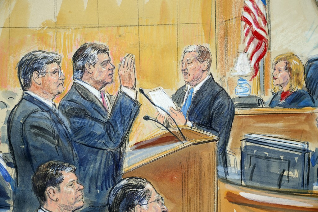 This courtroom sketch depicts former Donald Trump campaign chairman Paul Manafort, center, and his defense lawyer Richard Westling, left, before U.S.