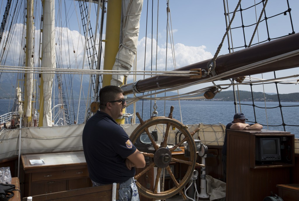 In this Sept. 6, 2018 photo, crewmen sail aboard the training ship 'Jadran' near the port of Tivat, Montenegro. Montenegro and Croatia have resolved a