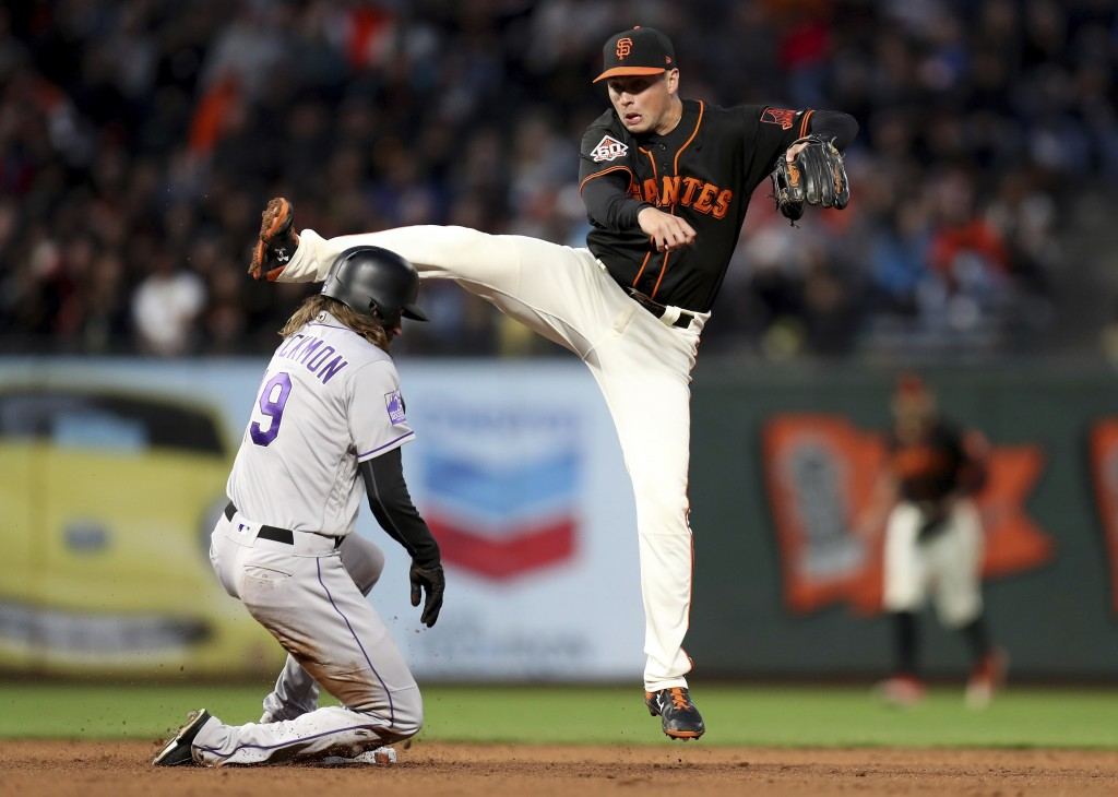 San Francisco Giants second baseman Joe Panik (12) forces out Colorado Rockies center fielder Charlie Blackmon (19) and completes a double play in the