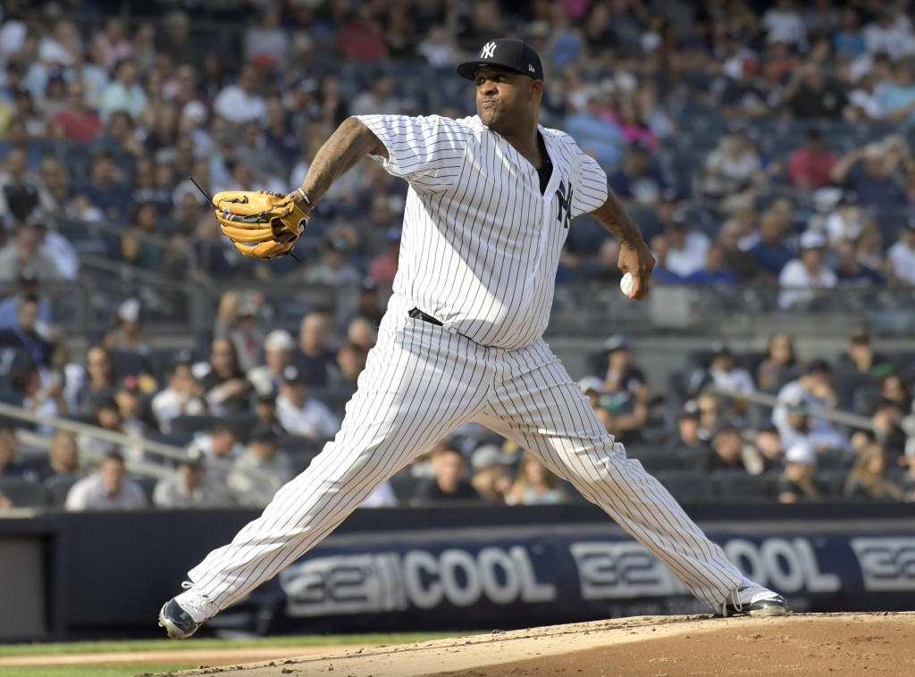 New York Yankees pitcher CC Sabathia deliver the ball to the Toronto Blue Jays during the second inning of a baseball game Saturday, Sept.15, 2018, at