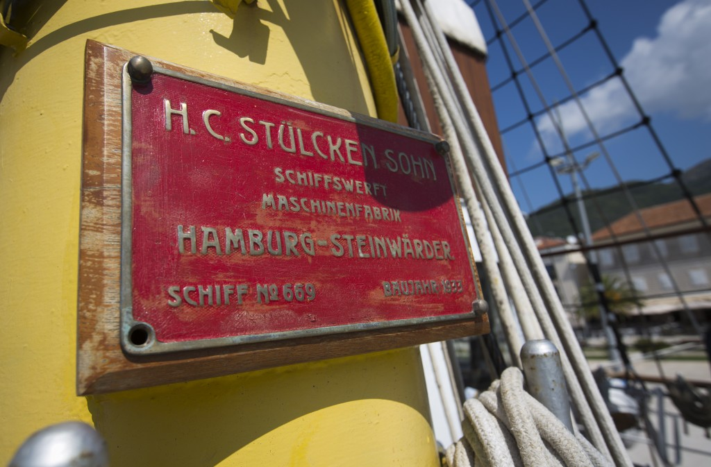 In this Sept. 6, 2018 photo, a shipyard plaque is seen on the mast of the training ship 'Jadran' near the port of Tivat, Montenegro. Montenegro and Cr