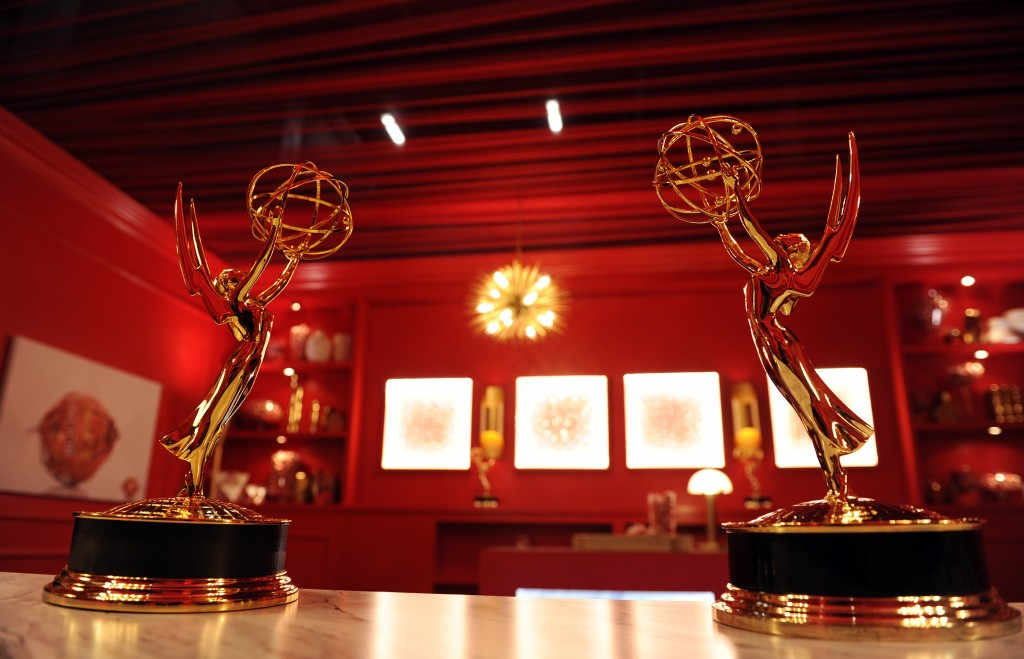 FILE - In this Sept. 13, 2018 file photo, Emmy Award statuettes are displayed inside the Lindt Chocolate Lounge inside the Microsoft Theatre in Los An