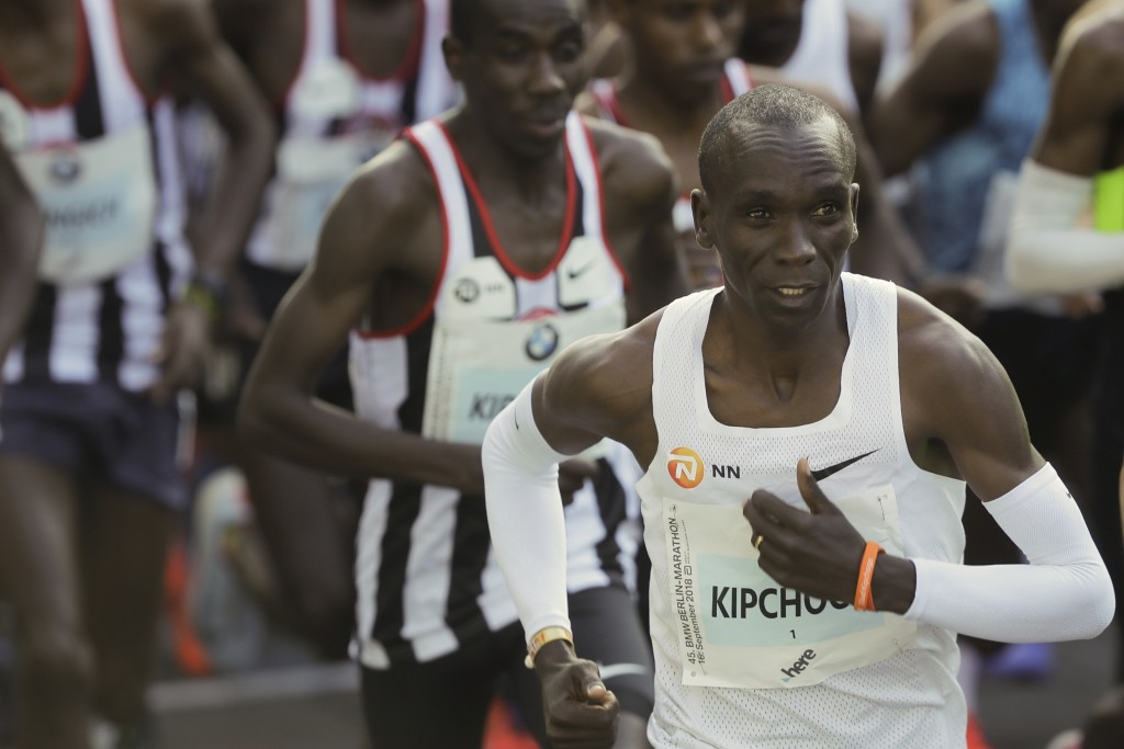 Eliud Kipchoge stars for the 45th Berlin Marathon in Berlin, Sunday, Sept. 16, 2018. (AP Photo/Markus Schreiber)
