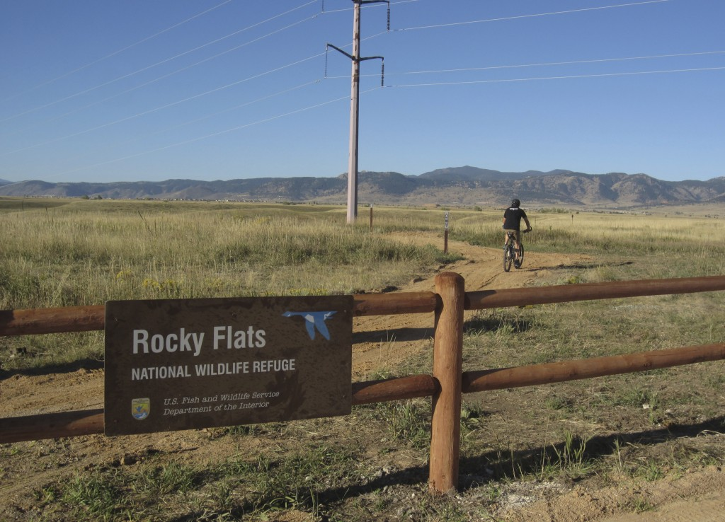 Jerry Jacka departs a trailhead on his mountain bike at Rocky Flats National Wildlife Refuge outside Denver on Saturday, Sept. 15, 2018, the first day