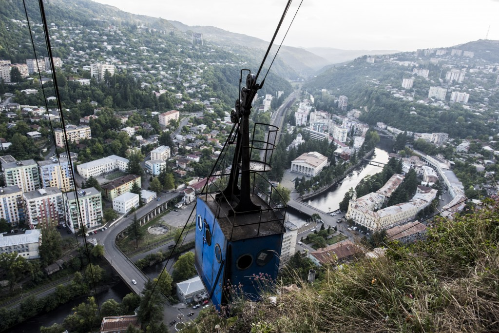 In this photo taken on Thursday, Aug. 30, 2018, a cable car is seen above the Georgian city of Chiatura, about 200 kilometers ( 125 miles) from Tbilis