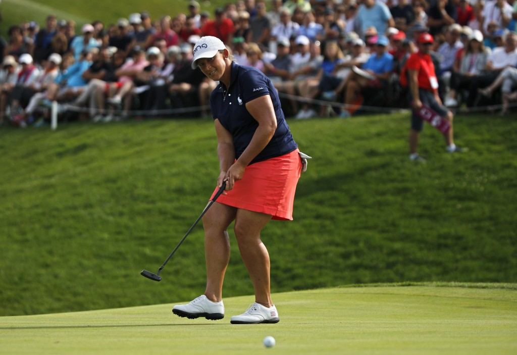 Angela Stanford of the U.S. puts on the 18th green during the fourth round of the Evian Championship women's golf tournament in Evian, eastern France,