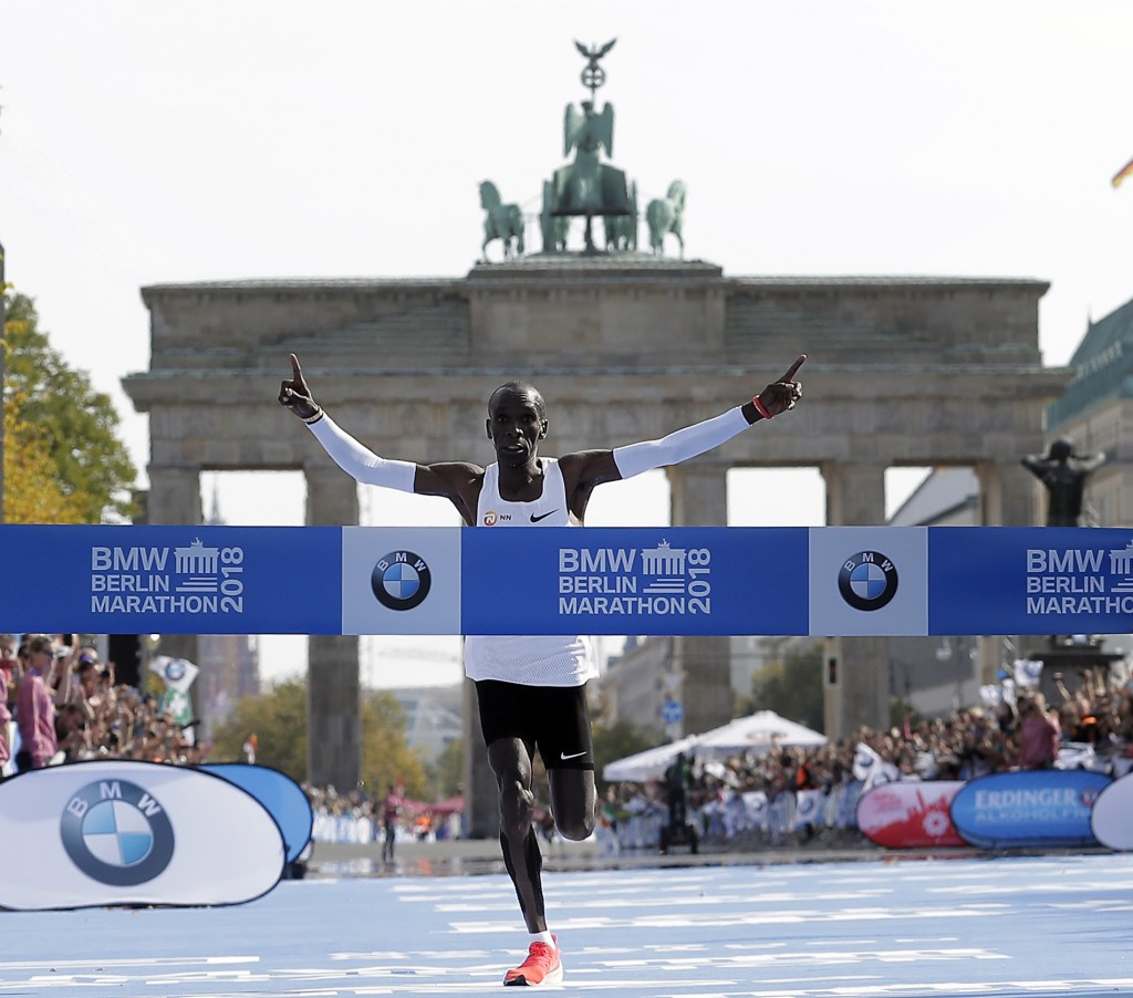 Eliud Kipchoge runs to win the 45th Berlin Marathon in Berlin, Germany, Sunday, Sept. 16, 2018. Eliud Kipchoge set a new world record in 2 hours 1 min