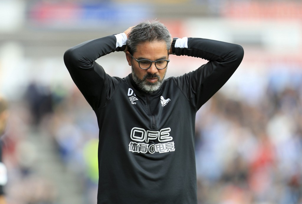 Huddersfield Town manager David Wagner reacts after the final whistle of the English Premier League soccer match between Huddersfield Town and Crystal