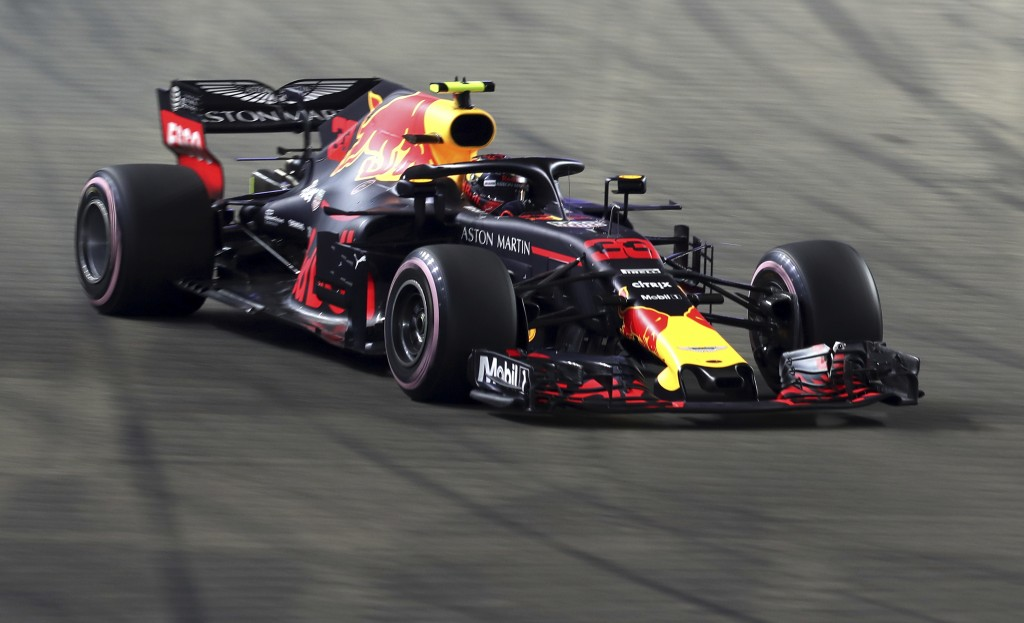 Red Bull Racing driver Max Verstappen of Netherlands steers his car during the Formula One Grand Prix of Singapore at Marina Bay Street Circuit in Sin