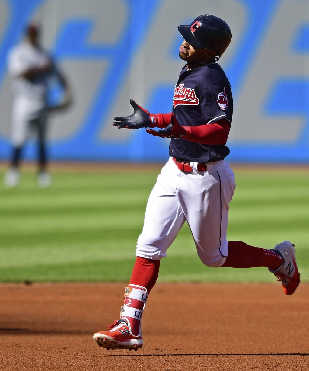 Cleveland Indians' Francisco Lindor runs the bases after hitting a solo home run off Detroit Tigers starting pitcher Michael Fulmer in the first innin