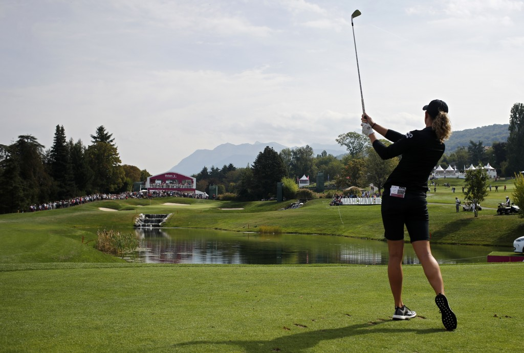 Amy Olson of the U.S. tees off to the 5th hole during the fourth round of the Evian Championship women's golf tournament in Evian, eastern France, Sun