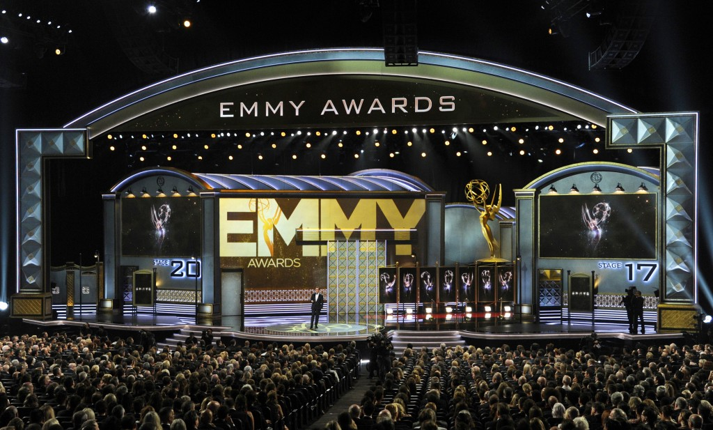FILE - In this Sept. 17, 2017 file photo, host Stephen Colbert speaks at the 69th Primetime Emmy Awards in Los Angeles. The 70th Emmy Awards will be h...