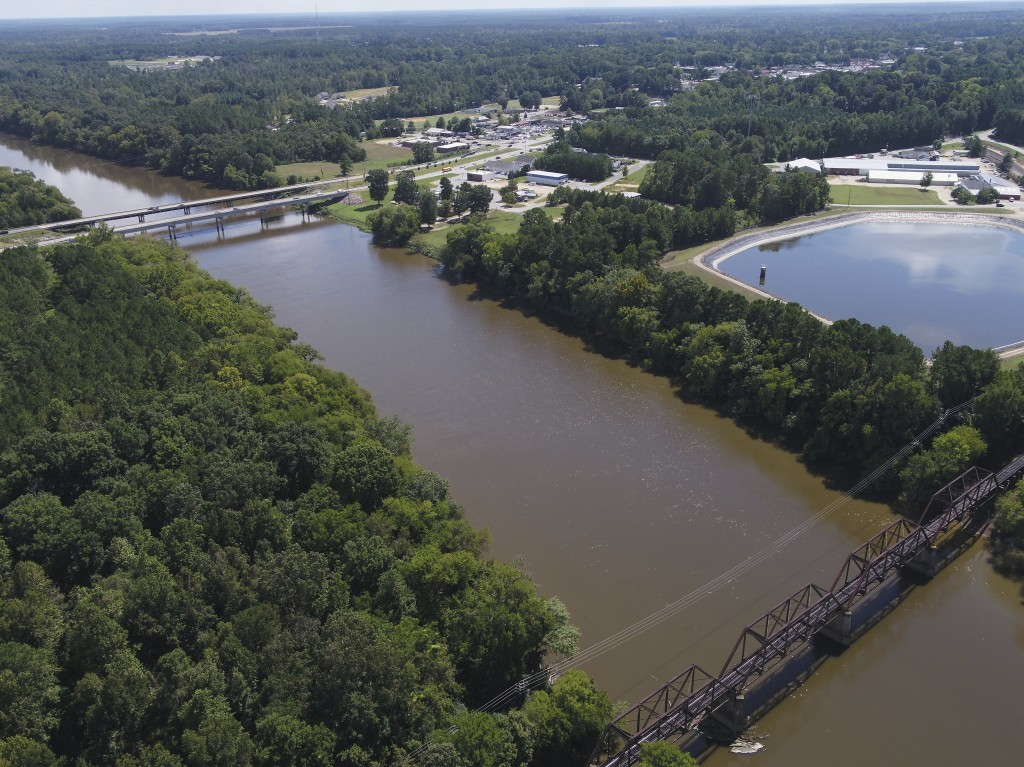 FILE - In this Tuesday afternoon, Sept. 12, 2018 file photo provided by DroneBase, an aerial view of the Cape Fear River, N.C., in Buckhorn, N.C. is s