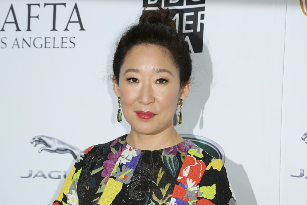 Sandra Oh arrives at the 2018 Primetime Emmy Awards -BAFTA Los Angeles TV Tea at the Beverly Hilton on Saturday, Sept. 15, 2018, in Beverly Hills, Cal