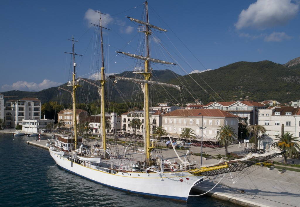 In this Sept. 6, 2018 photo, the training vessel 'Jadran' is moored in the port of Tivat, Montenegro. Montenegro and Croatia have resolved almost all
