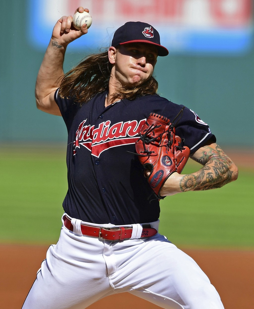 Cleveland Indians starting pitcher Mike Clevinger delivers in the first inning of a baseball game against the Detroit Tigers, Saturday, Sept. 15, 2018