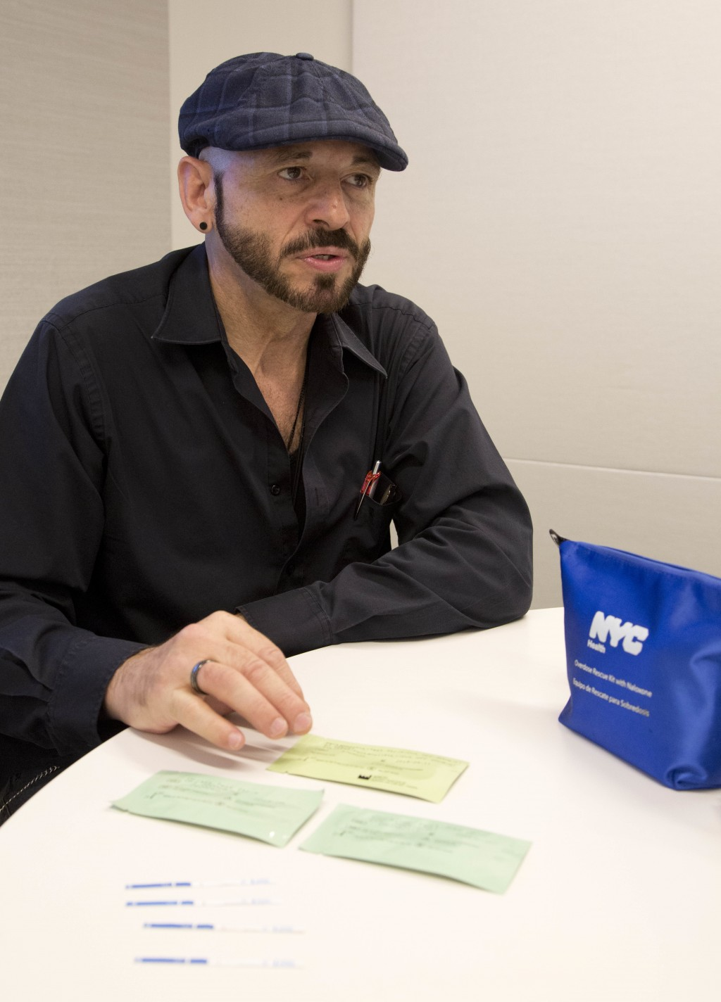 Tino Fuentes, a former heroin user and drug dealer, who is now an advocate for fentanyl test strips, talks during an interview in New York on May 10, ...