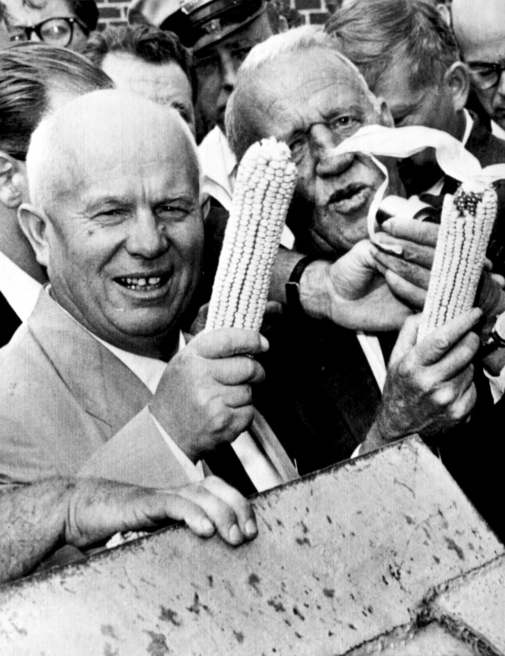 FILE - In this Sept. 23, 1959, file photo, Soviet Premier Nikita Khrushchev and Roswell Garst pose with corn cobs during an inspection tour of The Gar