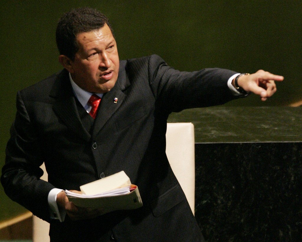 FILE - In this Sept. 20, 2006, file photo, Venezuela's President Hugo Chavez acknowledges members of the 61st session of the United Nations General As...