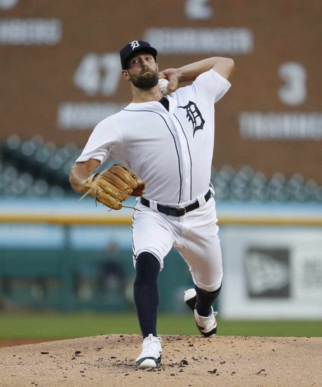 Detroit Tigers pitcher Daniel Norris throws to a Minnesota Twins batter during the first inning of a baseball game in Detroit, Tuesday, Sept. 18, 2018