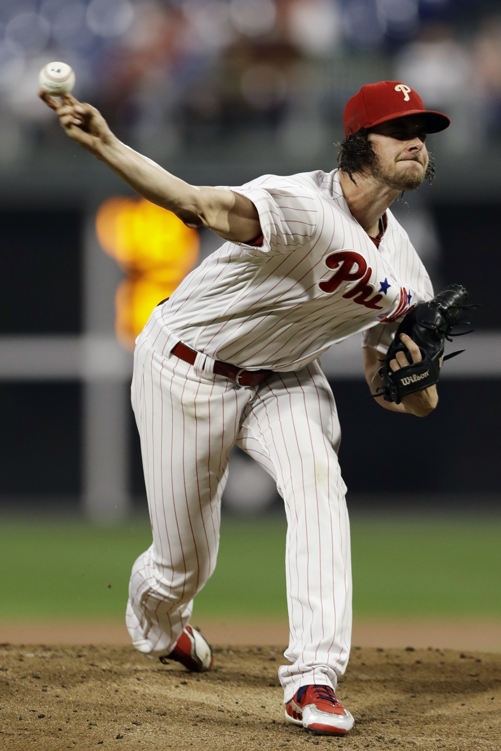 Philadelphia Phillies' Aaron Nola pitches during the first inning of the team's baseball game against the New York Mets, Tuesday, Sept. 18, 2018, in P...