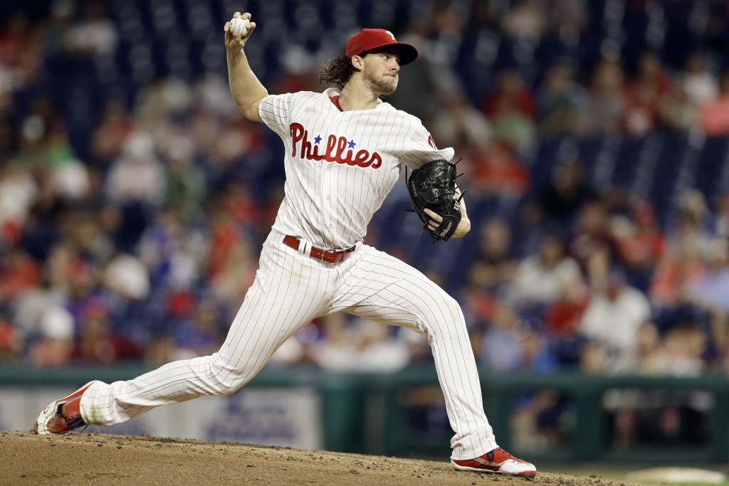 Philadelphia Phillies' Aaron Nola pitches during the second inning of the team's baseball game against the New York Mets, Tuesday, Sept. 18, 2018, in ...