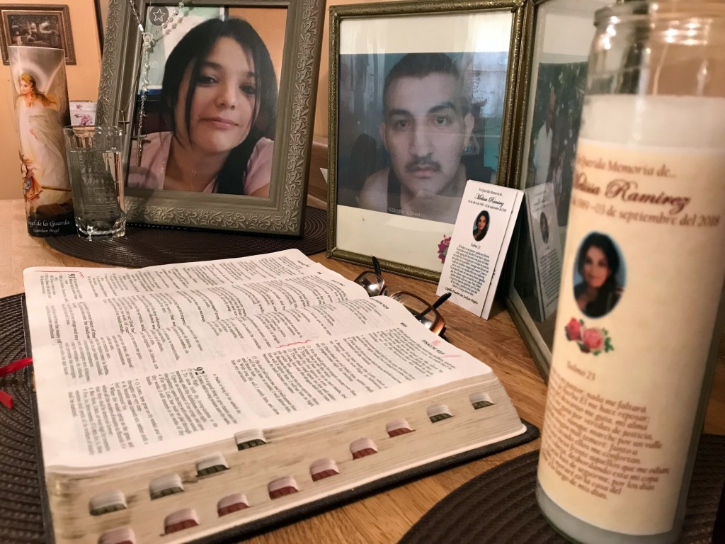 A framed photo of Melissa Ramirez sits at the end of a makeshift altar in her mother's home in Rio Bravo, Texas, on Tuesday, Sept. 18, 2018. (AP Photo...