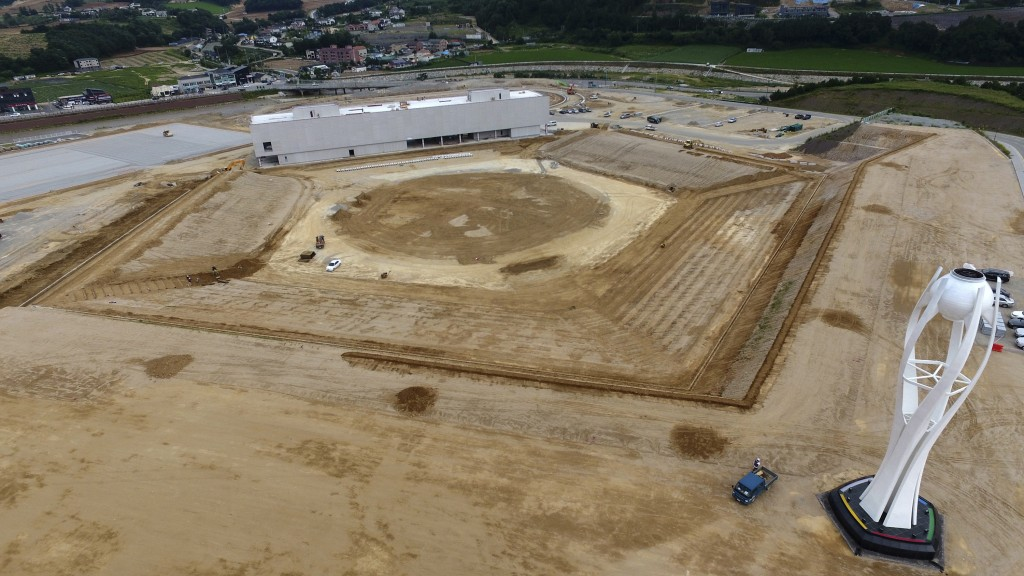 This Aug. 25, 2018, photo, shows a general view of a dismantled stadium for the opening and closing ceremonies of the 2018 Pyeongchang Winter Olympics...
