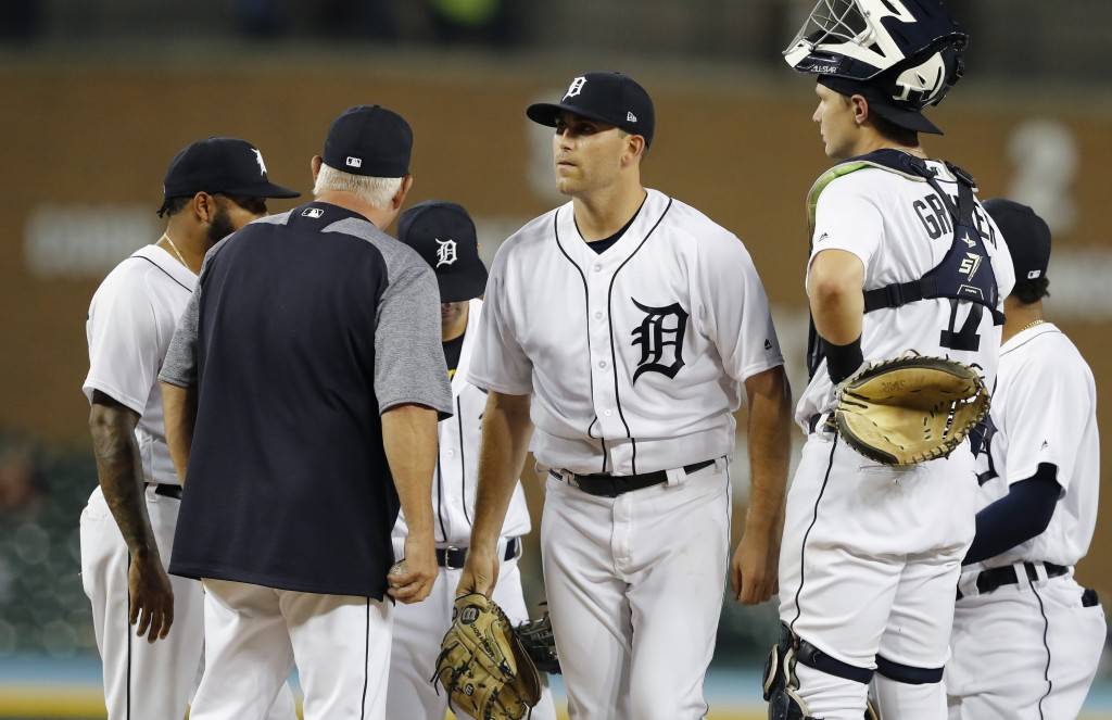 Detroit Tigers starting pitcher Matthew Boyd is relieved during the second inning of a baseball game against the Kansas City Royals, Thursday, Sept. 2