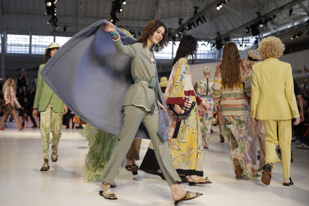 Models wear creations as part of the Etro women's 2019 Spring-Summer collection, unveiled during the Fashion Week in Milan, Italy, Friday, Sept. 21, 2...