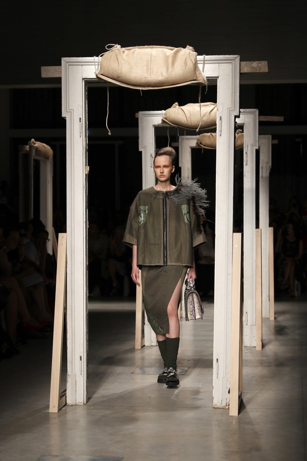 A model wears a creation as part of the Marras women's 2019 Spring-Summer collection, unveiled during the Fashion Week in Milan, Italy, Friday, Sept. ...