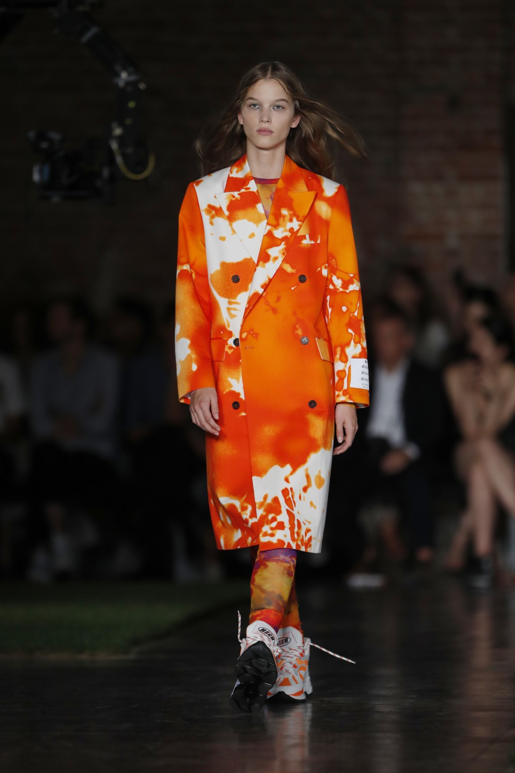 A model wears a creation as part of the MSGM women's 2019 Spring-Summer collection, unveiled during the Fashion Week in Milan, Italy, Friday, Sept. 21...