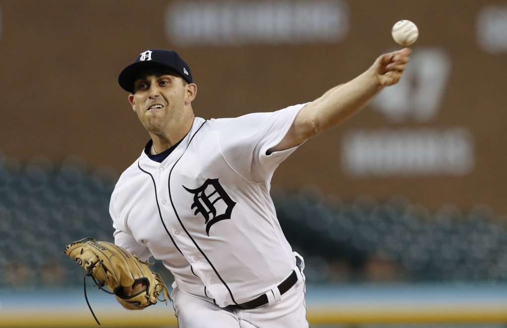Detroit Tigers starting pitcher Matthew Boyd throws during the first inning of the team's baseball game against the Kansas City Royals, Thursday, Sept